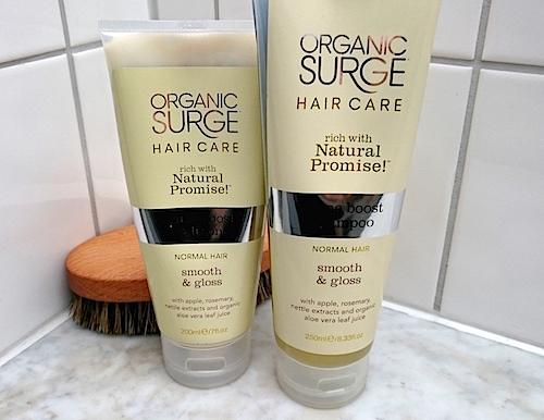 Glansgivande schampo och balsam från Organic surge - för glansigt hår
