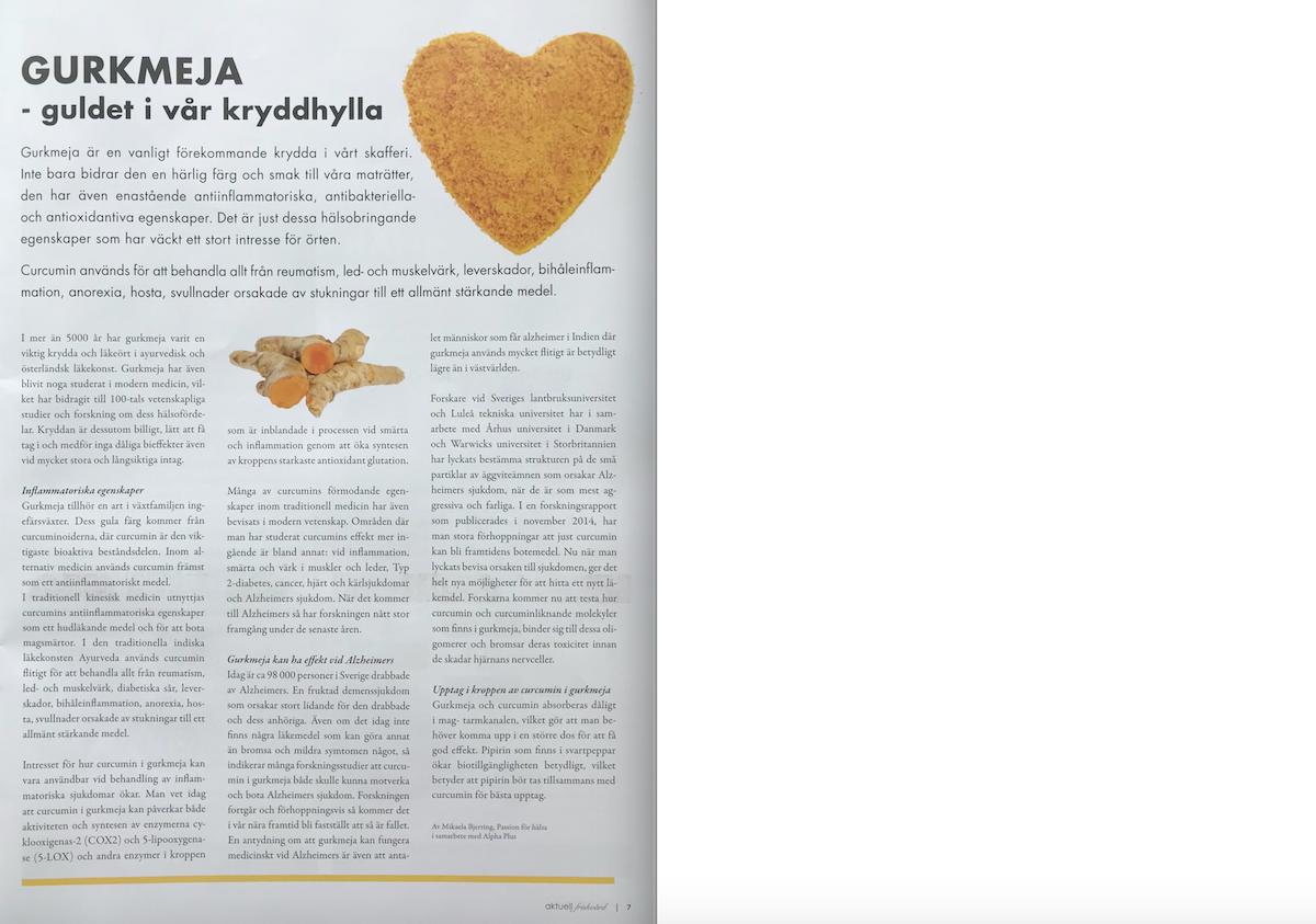 Aktuell friskvård - Gurkmeja - guldet i vår kryddhylla