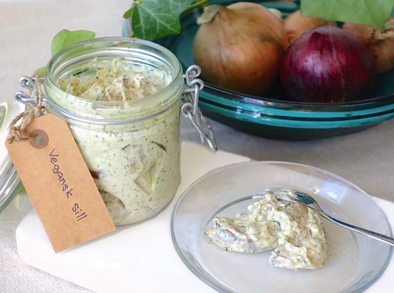 Vegansk senapssill av aubergine